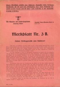 Merkblatt Umsiedler Titelblatt