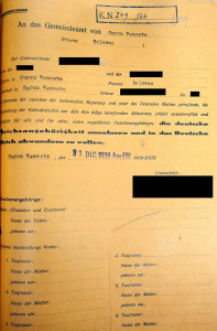 Optionsformular, 31.12.1939. Staatsarchiv Bozen, ADERSt Meran, Gemeinde Graun, Knr. 249.566. Foto: Hansjörg Stecher