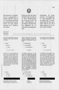 Formular der Sprachgruppenzugehörigkeitserklärung. © Archiv Edition Raetia, Bozen